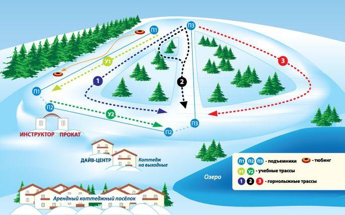 Схема трасс Сноупарка Спас-